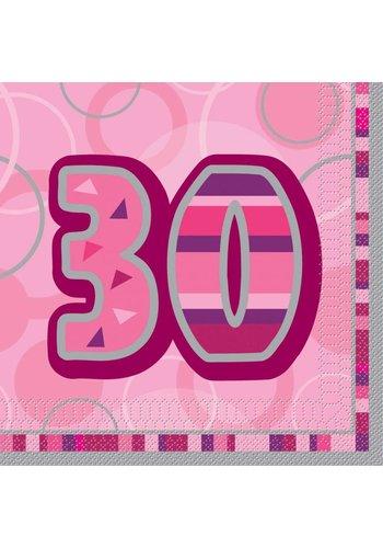 Pink Glitz servetten 30 - 33x33cm - 16 stuks