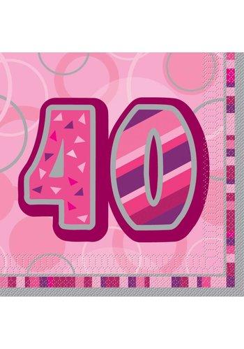 Pink Glitz servetten 40 - 33x33cm - 16 stuks