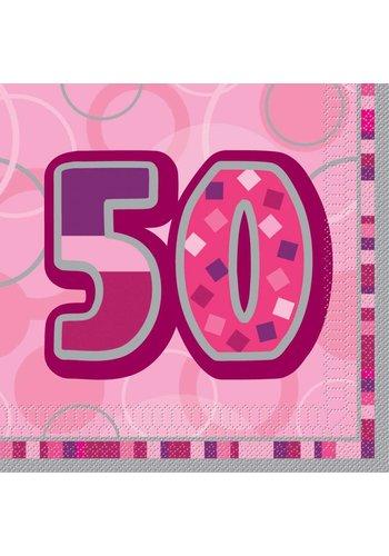 Pink Glitz servetten 50 - 33x33cm - 16 stuks