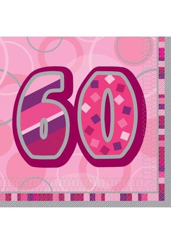 Pink Glitz servetten 60 - 33x33cm - 16 stuks