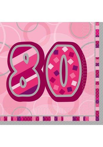 Pink Glitz servetten 80 - 33x33cm - 16 stuks