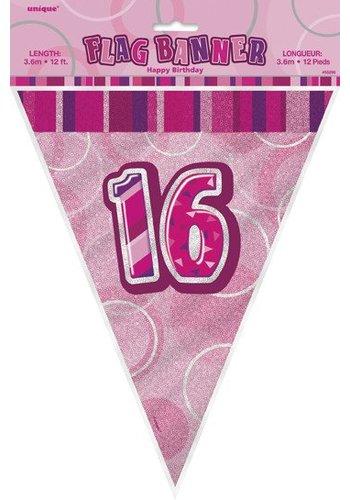 Pink Glitz vlaggenlijn 16 - 275cm