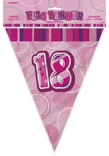 Pink Glitz vlaggenlijn 18 - 275cm