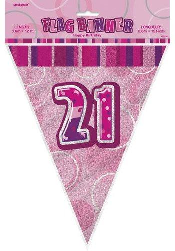 Pink Glitz vlaggenlijn 21 - 275cm