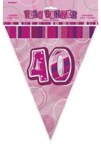 Pink Glitz vlaggenlijn 40 - 275cm