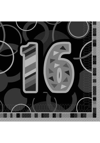 Black Glitz servetten 16 - 33x33cm - 16 stuks