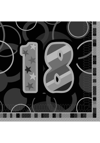 Black Glitz servetten 18 - 33x33cm - 16 stuks