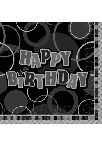 Black Glitz servetten Happy Birthday 33x33cm - 16 stuks