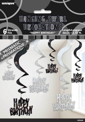 Black Glitz swirl deco happy birthday - 6 stuks