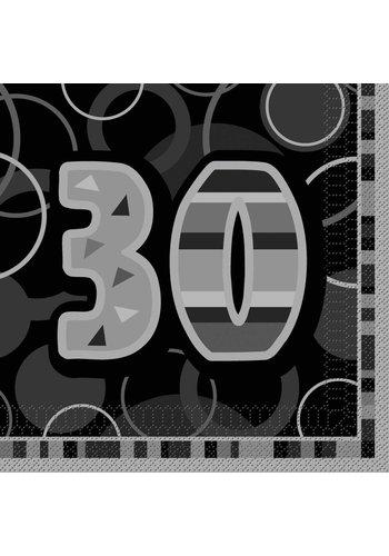 Black Glitz servetten 30 - 33x33cm - 16 stuks