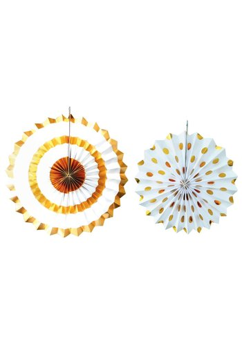Sparkling Gold waaiers - 2 stuks