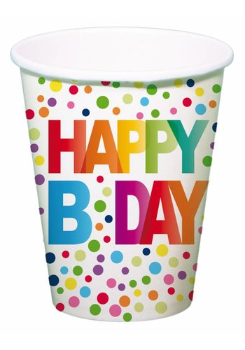 Happy Birthday Dots Bekertjes 250ml - 8 stuks
