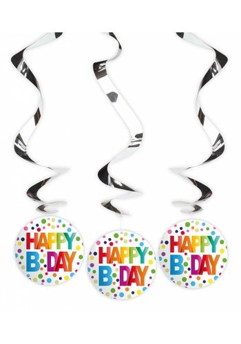 Happy Birthday Dots Swirl deco - 3 stuks
