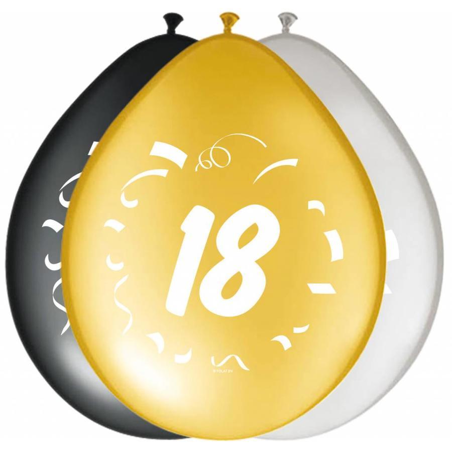 "Ballonnen ""18"" classy - 30cm - 8 stuks-1"