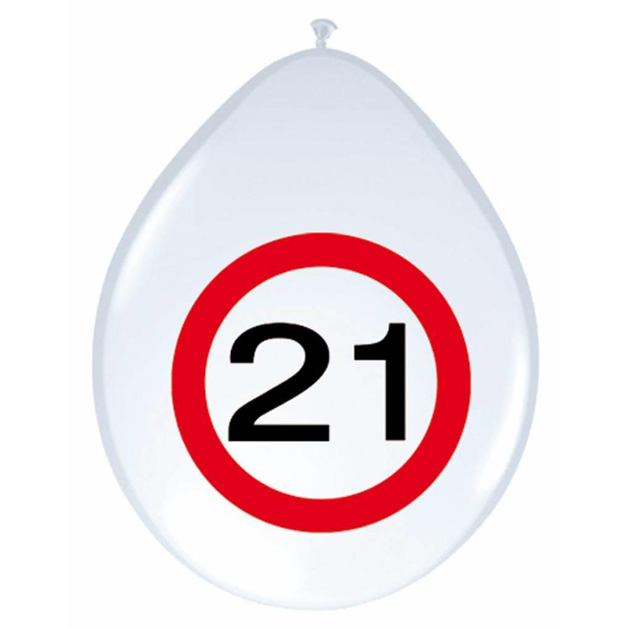 "Ballonnen ""21"" Verkeersbord - 30cm - 8 stuks-1"