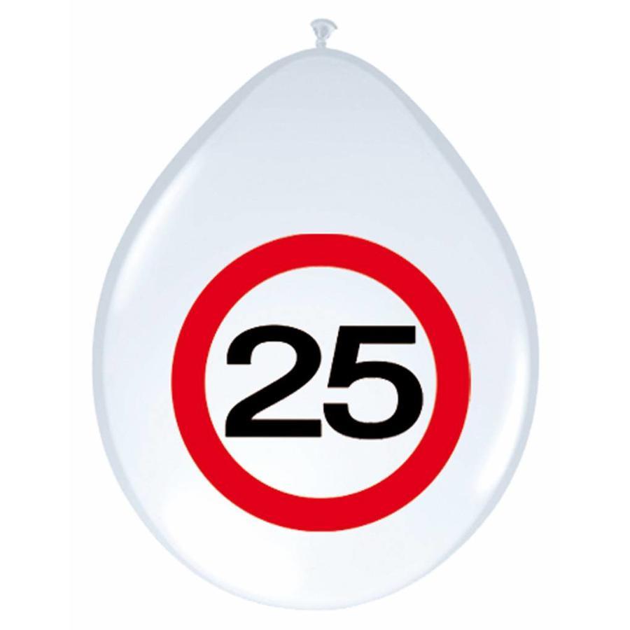 "Ballonnen ""25"" Verkeersbord - 30cm - 8 stuks-1"