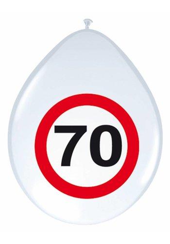 "Ballonnen ""70"" Verkeersbord - 30cm - 8 stuks"