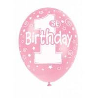 Ballonnen 1 Roze - 30cm - 5 stuks