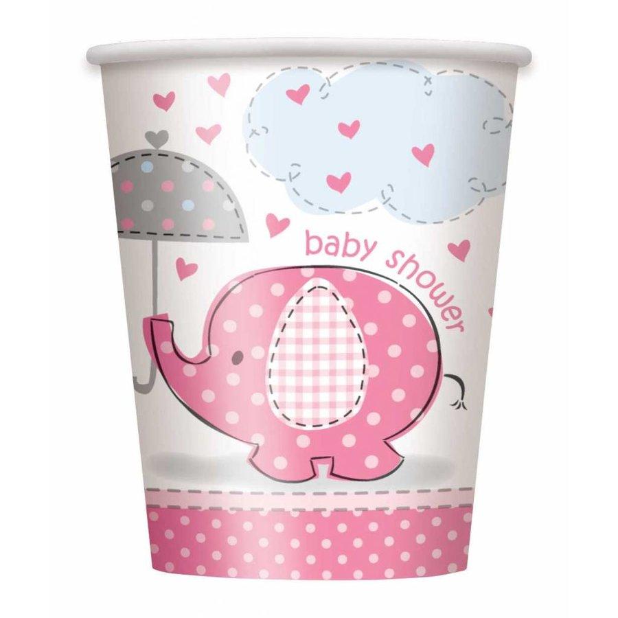 Babyshower olifantje girl bekertjes 250ml - 8 stuks-1