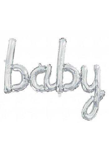 "Folieballon Kit ""BABY"" zilver"