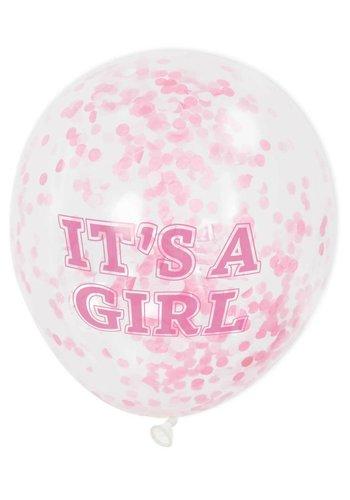 It's a Girl ballonnen met confetti - 6 stuks