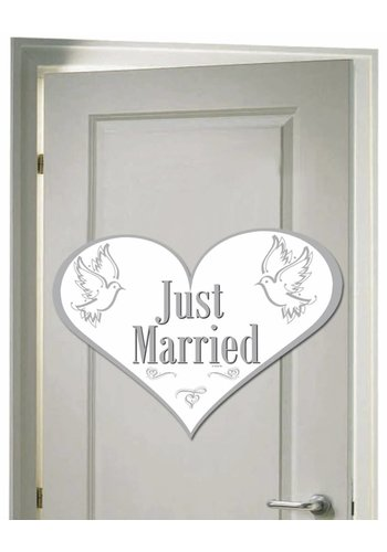 Love Doves deurbord Just Married - 50x38cm