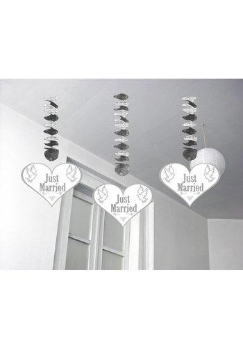 Love Doves hangdecoratie Just Married - 3 stuks