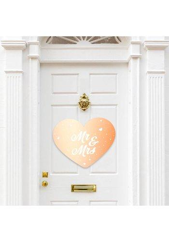 Rose Gold deurbord Mr & Mrs