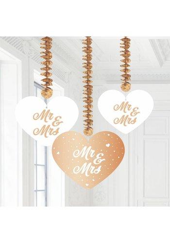 Rose Gold hangdecoraties Mr & Mrs - 3 stuks