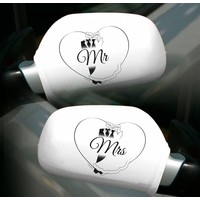 Autospiegel hoesjes Mr & Mrs - 2 stuks