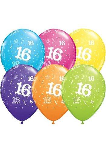 """11"""" Confetti 16 jaar - 6 kleuren (28cm)"""
