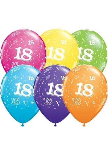 """11"""" Confetti 18 jaar - 6 kleuren (28cm)"""