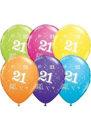 """11"""" Confetti 21 jaar - 6 kleuren (28cm)"""