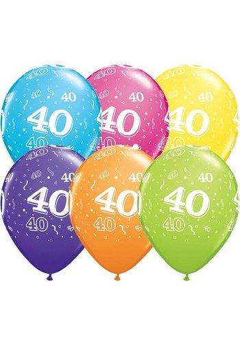 """11"""" Confetti 40 jaar - 6 kleuren (28cm)"""