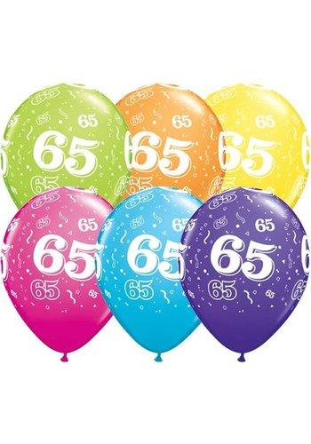 """11"""" Confetti 65 jaar - 6 kleuren (28cm)"""
