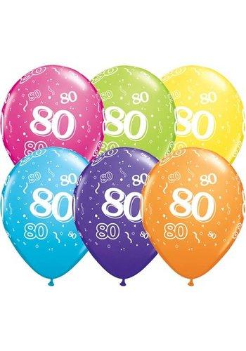 """11"""" Confetti 80 jaar - 6 kleuren (28cm)"""