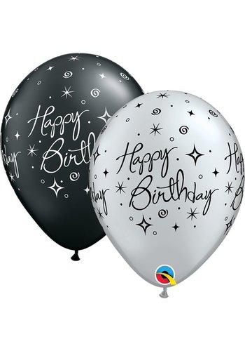 "11"" Happy Birthday Elegant - 2 kleuren (28cm)"