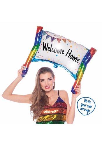 Opblaasbaar spandoek Welcome Home - 73x56cm