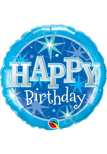 Folieballon Happy Birthday Sparkle Blauw - 45cm