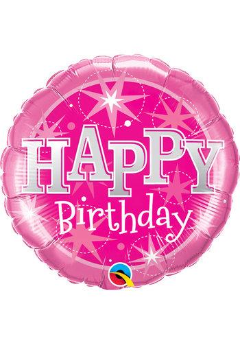 Folieballon Happy Birthday Sparkle Pink - 45cm