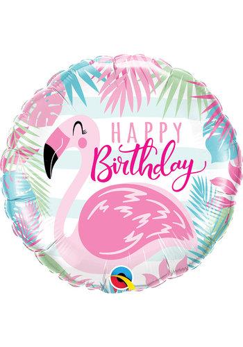 Folieballon Birthday Flamingo - 45cm