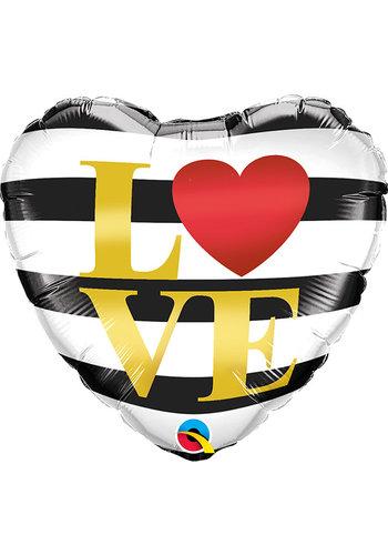 Folieballon LOVE Stripes - 45cm