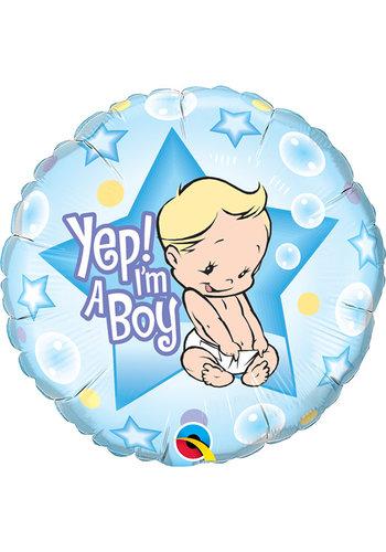 Folieballon Yep I'm a Boy - 45cm