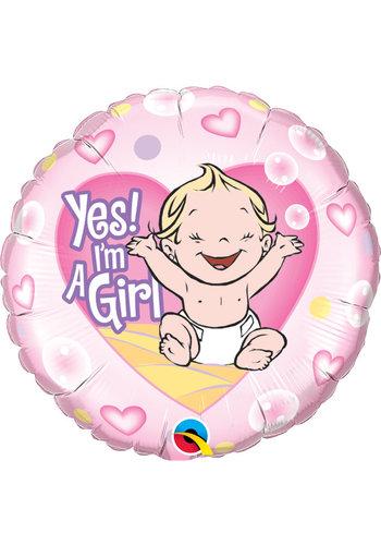 Folieballon Yes I'm a Girl - 45cm