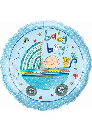 Folieballon Baby Boy Stroller - 45cm