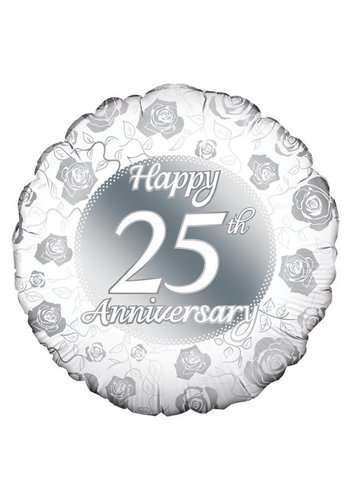 Folieballon - Happy 25th Anniversary - 45cm