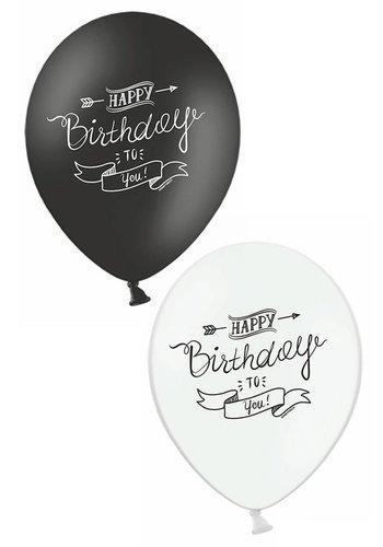 Ballonnen Happy Birthday to you zwart/wit - 30cm - 6st