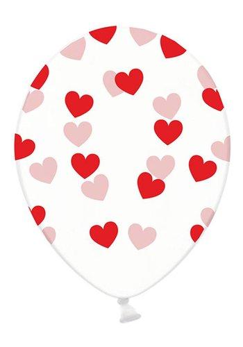 Ballonnen Doorzichtig met rode hartjes - 30cm - 6st