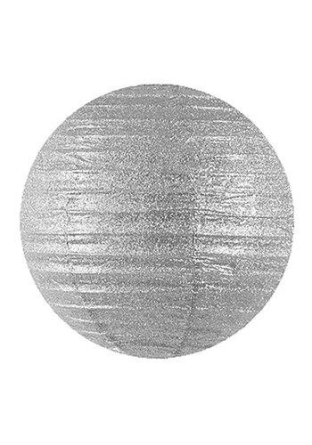 Lampion glitter zilver - 25cm