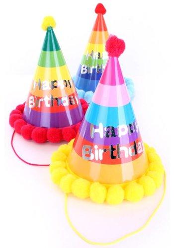 Feesthoedje multicolour Happy Birthday